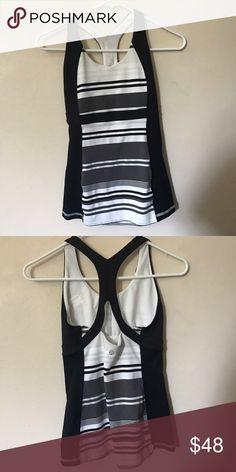 Lululemon tank top Cute black/white stripped tank. Great condition lululemon athletica Tops Tank Tops