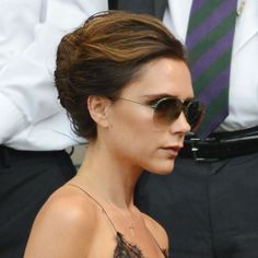 Victoria Beckham with French roll at Wimbledon Short Hairstyles 2015, Elegant Hairstyles, Celebrity Hairstyles, Pretty Hairstyles, Hair Styles 2014, Short Hair Styles, Short Hair Updo, Updo Hairstyle, Hair Dos