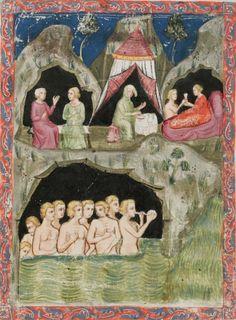 Petrus Ebulo , De Balneis Puteolanis Period fourteenth century . (circa 1350-1370 ) Cologny, Fondation Martin Bodmer, Cod. Bodmer 135 [ Petrus Ebulo ] From Balneis Puteolanis