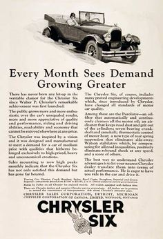 1925 Chrysler Open Touring Car vintage ad. Equipped with the famous Chrysler Six, Purolator oil filter, seven-bearing crank/cam shaft, improved rear suspension and Watson stabilators. Every month sees demand growing greater.