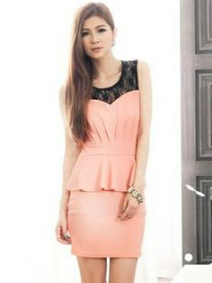 Grace Crochet Lace Splicing Sleeveless Peplum Dress Pink