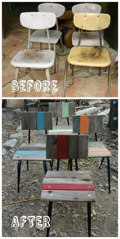 "We just finished repurposing these pallet chairs. You can see more of our work at Artisansbydesign on FB. Our motto is ""saving the planet one board at a time""."