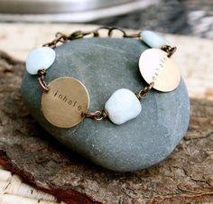 inhale exhale :: a hand stamped soul mantra bracelet with kyanite gemstones