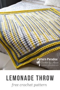 Free Crochet Pattern: Lemonade Throw | Pattern Paradise Pretty throw that can easily be customized to any blanket size. #crochet #patternparadisecrochet #blanket #babyblanket #throw
