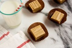 Foolproof Peanut Butter Fudge {2 ingredients!} - afarmgirlsdabbles.com #fudge #peanutbutter