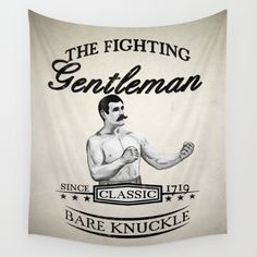 The Fighting Gentlemen Wall Tapestry  #fighting #gentleman #bareknuckle #poster #boxer #mma #grappling #walltapestry #tapestry #vintage #retro