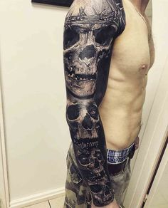 Full Sleeve Skull Tattoo - Best Skull Tattoos For Men: Cool Skull Tattoo Designs and Ideas For Guys Full Tattoo, Full Sleeve Tattoo Design, Skull Tattoo Design, Tattoo Designs Men, Epic Tattoo, Dark Tattoo, Bird Tattoo Sleeves, Arm Sleeve Tattoos, Leg Tattoos