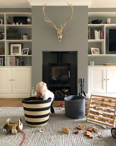 Farrow & Ball Paint Colours in My Home – Just A Little Build – Livingroom WOW – Living Room Ideas Living Pequeños, Living Room Grey, Living Room Interior, Home Living Room, Modern Living, Small Living, Living Room No Fireplace, Cottage Living Room Decor, Living Area