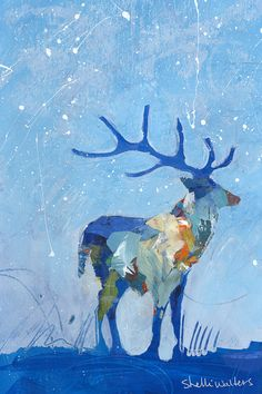 Winter Deer Original Acrylic Painting by ShelliWalters on Etsy