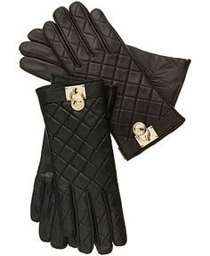 MICHAEL Michael Kors Gloves, Quilted Leather Hamilton Lock - Hats, Gloves & Scarves - Handbags & Accessories - Macy's