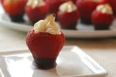 Cheesecake filled strawberries dipped in chocolate....I am making these for my Thirtyone Bag Party