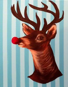 CHRISTMAS ART TUTORIAL #1: How to paint Rudolph the Red Nosed Reindeer - STEP by STEP   Join Amy on facebook here: http://www.facebook.com/herartfromtheattic Follow Amy on Instagram! @herartfromtheattic  Amy Pearce of www.herartfromtheattic.blogspot.com teaches you how to paint Rudolph the Red Nosed Reindeer in this fast and easy step by step tutorial.  You can use either acrylic or oil paint. If you use oil paint-- you will need to wait longer in between layering for paint to dry.
