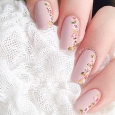 """floral mani using @opi_products's """"My Very First Knock-wurst."""