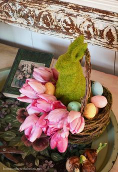 Moss bunny in basket with colored eggs | Home is Where the Boat Is