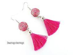 """"""" ROSE DANCE """"  #tasselearrings #roseearrings #fuschiaearrings"""