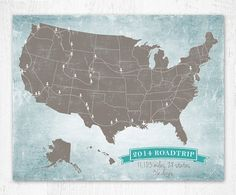 Show your travels around the United States with this vintage US