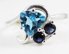 Swiss Blue Topaz and Blue Sapphire Ring - Sterling Silver