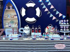 Kara's Party Ideas Nautical Themed First Birthday Party for Nautical Party Decoration Ideas Nautical Banner, Nautical Party, Baby Shower Parties, Baby Shower Themes, Baby Boy Shower, Boy First Birthday, First Birthday Parties, Birthday Ideas, Sailor Theme