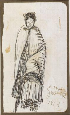 Mujer mayor con mantón y paraguas. Carboncillo. 1913. 16,3 x 9,7 cm. Artista Ernst Barlach.