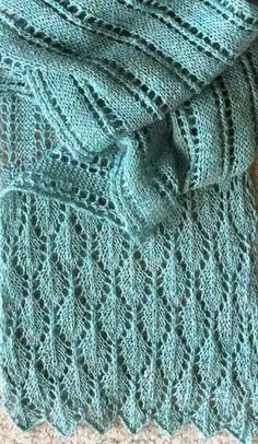 Free Knitting Pattern for Summer Stream Scarf - This versatile lace scarf is perfect for warmer weather if knit in cotton or silk, or knit it in cozier yarns for cold weather. Designed by Asami Kawa, who says it is constructed of simple lace patterns. Mos