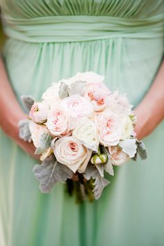 bridesmaid bouquet and lovely dress color
