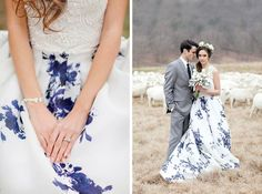 This flowing floral print: | 32 Strikingly Beautiful Wedding Dress Details