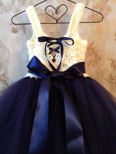 Navy blue and ivory umpire flower girl tutu dress crochet by Qt2t