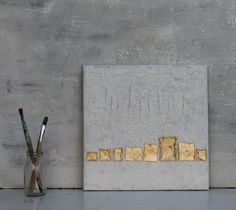Blattgold Malerei Abstrakte Malerei 30x30x15 cm  von AtelierMaltopf