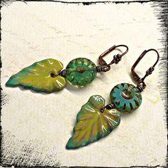 Leafy Greens  Czech Glass TorchFired by MelismaticArtJewelry, $27.00