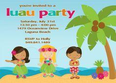 Kids Luau Birthday Party Invitation
