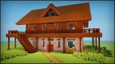 Minecraft: How to build a dark oak wooden house Minecraft Wooden House, Minecraft Cabin, Minecraft Starter House, Casa Medieval Minecraft, Minecraft Houses For Girls, Minecraft House Plans, Minecraft Houses Survival, Minecraft Houses Blueprints, Minecraft House Designs