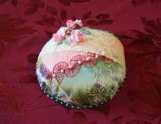 I ❤ crazy quilting & ribbon embroidery . . . pincushion