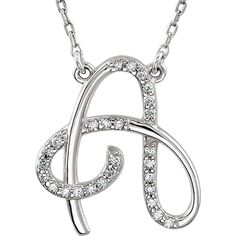 Sterling silver and diamond initial necklace