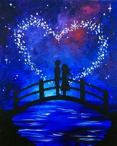 painting acrylic paintings paint nite easy couple beginner night sky canvas bridge drawing sunset heart star couples beginners simple paintnite