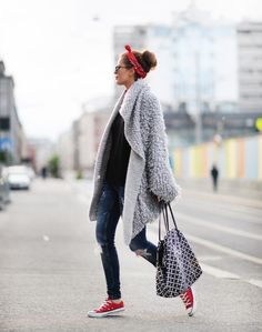 Anette Haga showing off the bandana trend with this perfect… Visit Her Style Guide for more