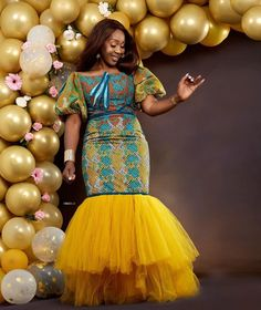 Chinelo Obi-Nwogu rocks stunning African print gown for her birthday. Chinelo Obi Ankara and lace birthday gown from ATMKollectionz brand African Maxi Dresses, Latest African Fashion Dresses, African Dresses For Women, African Print Fashion, African Attire, Ankara Fashion, Ankara Short Gown Styles, Kente Styles, Short Gowns