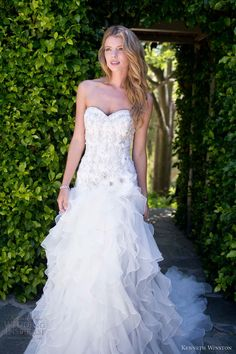 Kenneth Winston style PL1496 strapless drop waist gown featuring beaded bodice with sweetheart neckline.