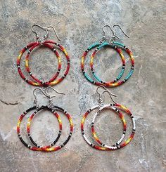 "Native American Style 1.5"" Lot Of 4 Pair Beaded Hoop Earrings"
