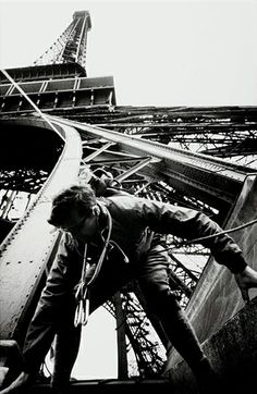 Worker on the Eiffel Tower, 1953.  by Marc Riboud