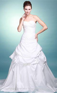 Ball Gown Sweetheart,Strapless Floor-length White Taffeta Wedding Dresses(SCW146)