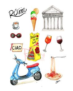 Rome art, Rome illustration, Italy art print, Rome poster, Rome wall art,Poster for Home Office Wall Decor, Kids room, Nursery decor by Houston fashion illustrator Rongrong DeVoe