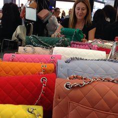 Lori Hirshleifer thoroughly enjoying her job. #chanel #pfw #ss14 #handbags
