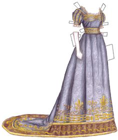 1820s Russian sky blue gown for paper doll -- from Liana's paper doll archive