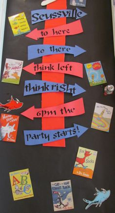 Another door decoration for our Preschool 2 room. The staff cut arrows and used a Seuss-style font to create a reminder for the big night! Love the use of all the book covers