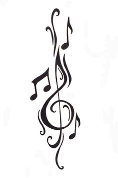 Cleft note with music notes Free Designs Music Notes Tattoo Wallpaper Zimg Winged