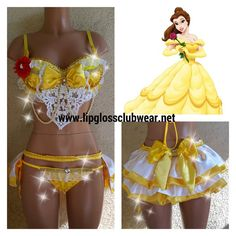 Look sexy in this Belle inspired costume. She found her prince in a hopeless place and you can too with this hot yellow top with gold satin layers, Belle Halloween Costumes, Rave Costumes, Festival Costumes, Festival Outfits, Sexy Belle Costume, Adult Princess Costume, Disney Princess Costumes, Glamour Costumes, Gowns
