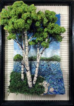Birch Lake by Dimensional Weaving Weaving Wall Hanging, Weaving Art, Tapestry Weaving, Loom Weaving, Art Fibres Textiles, Textile Fiber Art, Moss Wall Art, Moss Art, Wind Chimes