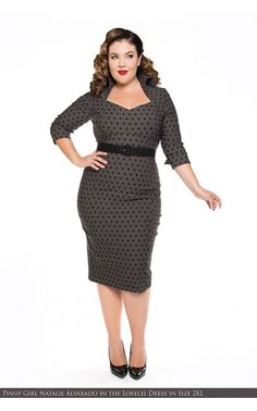 Lorelei Dress in Gray Bengaline with Dots