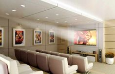 Home Movie Theater, to fit a maximum number of people in one room. Doubt chairs recline.