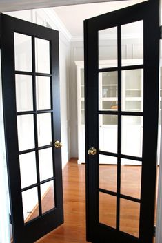 Interior french doors add a beautiful style and elegance to any room in your home. Internal French Doors White, Narrow French Doors, Black French Doors, Double French Doors, Black Doors, Glass Internal Doors, French Doors Inside, Inside Doors, Oak Interior Doors
